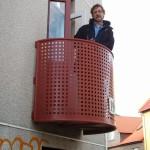 Bob on balcony of our last-minute Reykjavik apt.